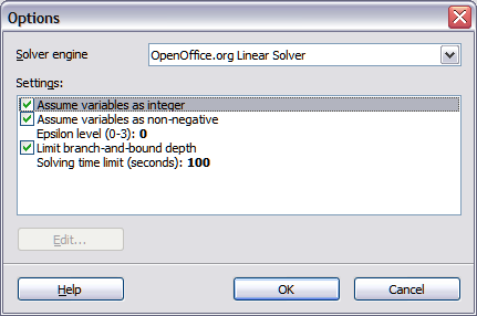 solver popup options menu