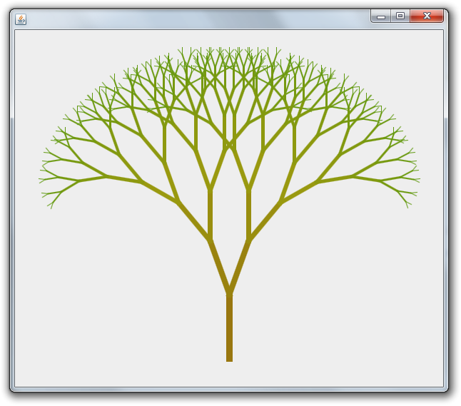 Line Drawing Java : Fractal tree rosetta code